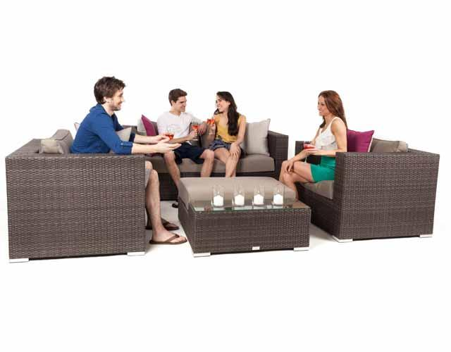 Ensemble causeuse mobilier jardin patio liana de 5 pi ces for Ensemble meuble de jardin