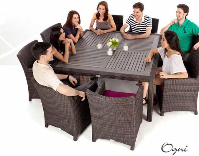 Nico Square Patio Dining Table For 8 With Synthetic Teak Wood Composite Top  ...