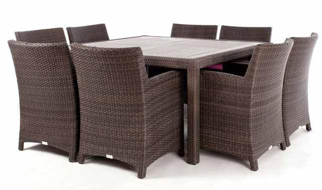 table a diner patio carree nico pour 8 avec surface en bois composite. Black Bedroom Furniture Sets. Home Design Ideas