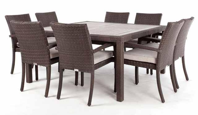 ... Nico Square Patio Dining Table For 8 With Synthetic Teak Wood Composite  Top ...