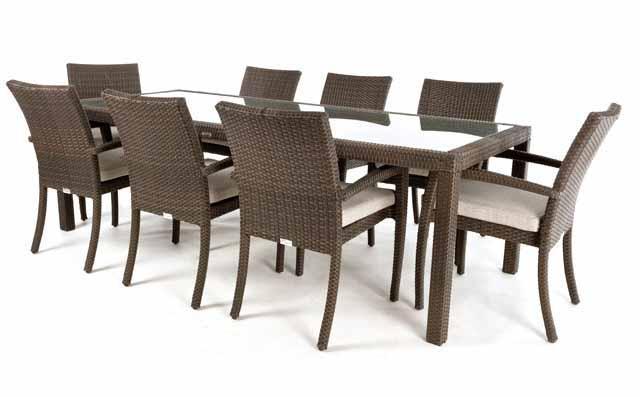 Table à dîner rectangulaire patio CIRO pour 8 (verre)