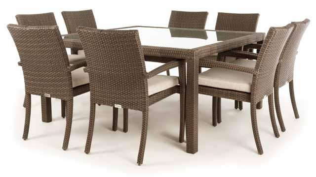 Nico Square Patio Dining Table For 8 With Glass Top