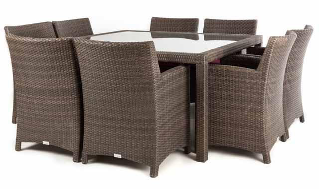 ... Nico Square Patio Dining Table For 8 (Glass) ...