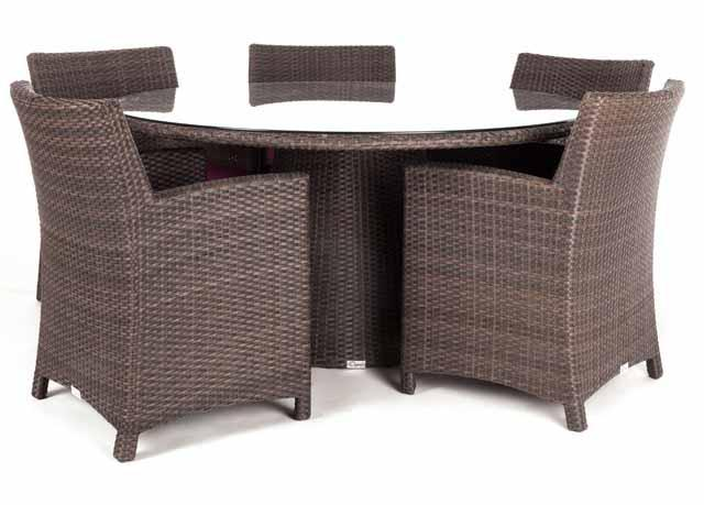 Table d ner de patio ronde delia for Diametre table ronde 4 personnes