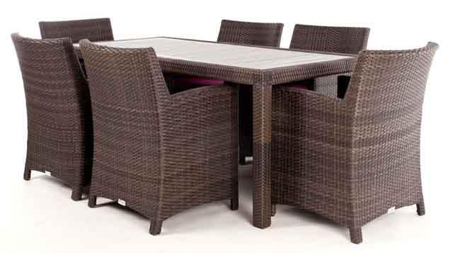 ... CIRO Rectangular Patio Dining Table For 6 With Synthetic Teak Wood  Composite Top ...