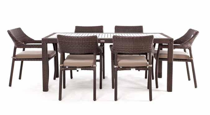 Table d ner rectangulaire patio ciro ensemble pour 6 for Meuble rotin montreal