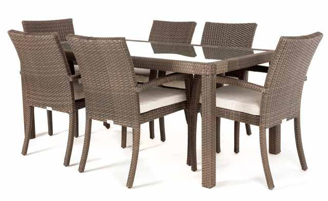 Ciro rectangular patio dining table for 6 ( Tempered Glass )
