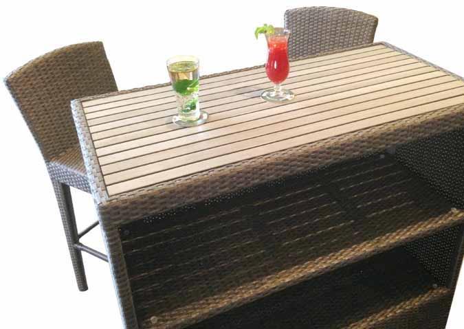 Table de bar extérieur Tiki Martini en simili rotin réaliste pour patio