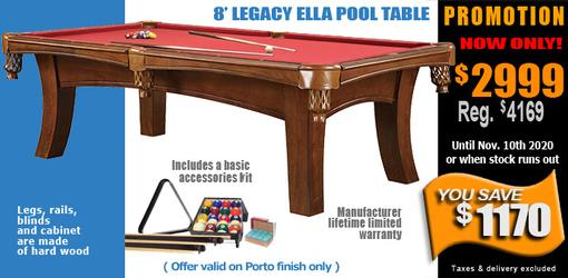 Legacy Ella pool table with black or Porto finish