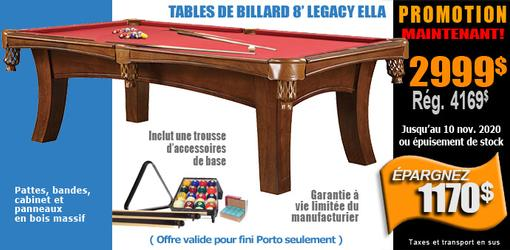 Table de billard Legacy Ella au fini porto