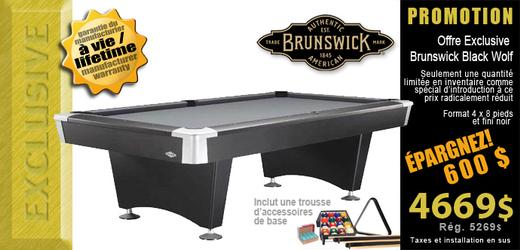 Table de billard Brunswick Black Wolf II en promotion exclusive