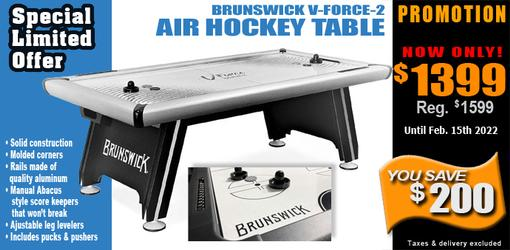Superior quality semi-commercial style Brunswick V-Force-2 air hockey table