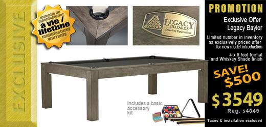 Legacy Baylor pool table made for condo or apartment