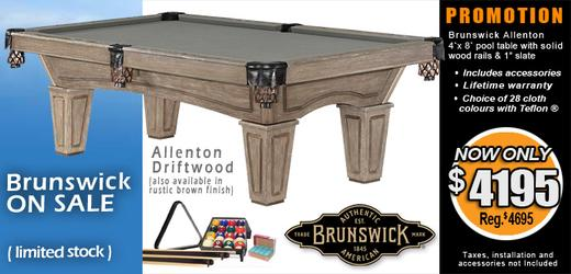 Brunswick Allenton rustic pool table in Driftwood finish