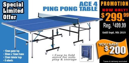 Ace 4 ping pong table tennis game with blue surface