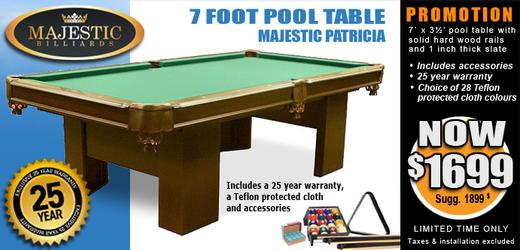 Majestic Patricia 8 foot pool table with 1 inch slate and solid wood rails