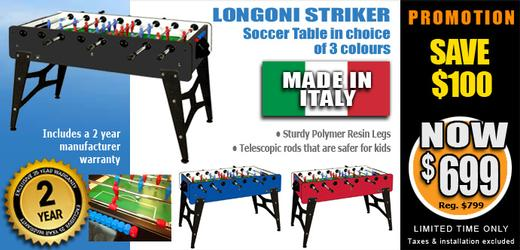 Longoni Striker Made-In-Italy soccer table, 3 colour choices