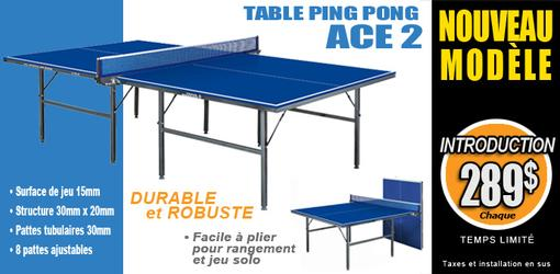 Table de tennis ping pong robuste et durable ACE2