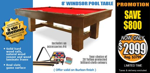 Windsor 8 foot pool table